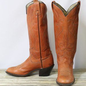 Acme Cowboy Boots 6.5 M Womens Tan Brown Leather